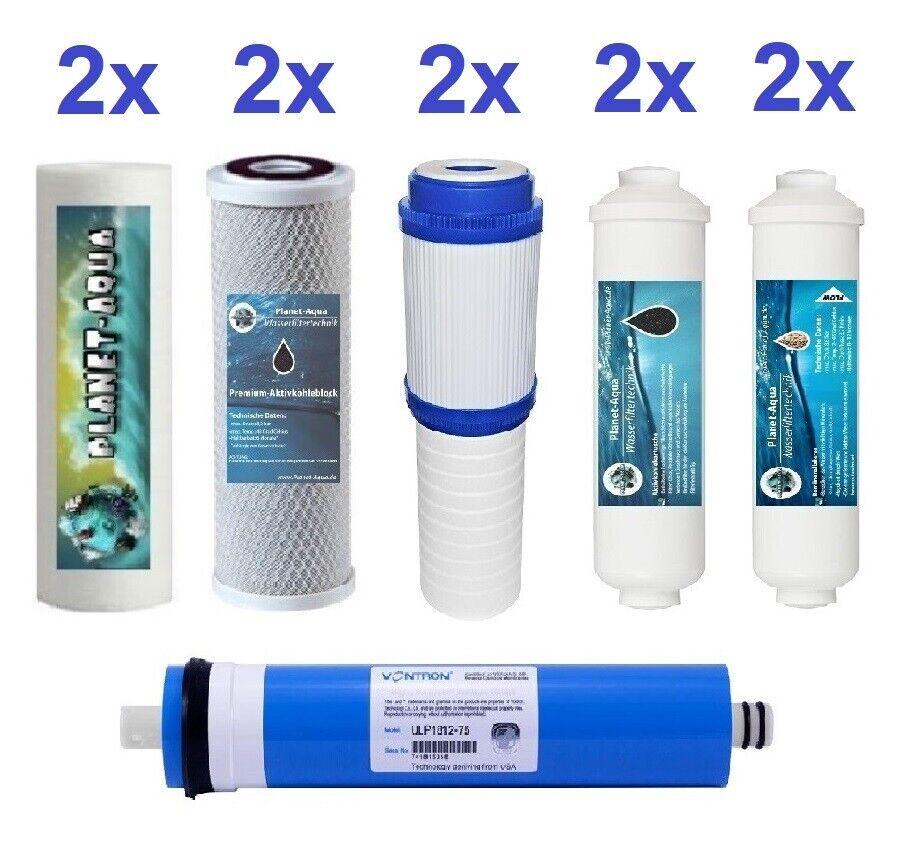 Ersatzfilter 10 Zoll 6 Stufen Umkehrosmose Osmose Wasserfilter + 100 GPD Membran