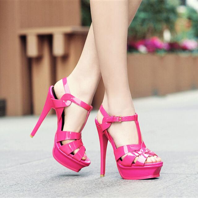 High Stilettos Heels Womens Patent Leather T-Strap Platform Roman Party Shoes sz