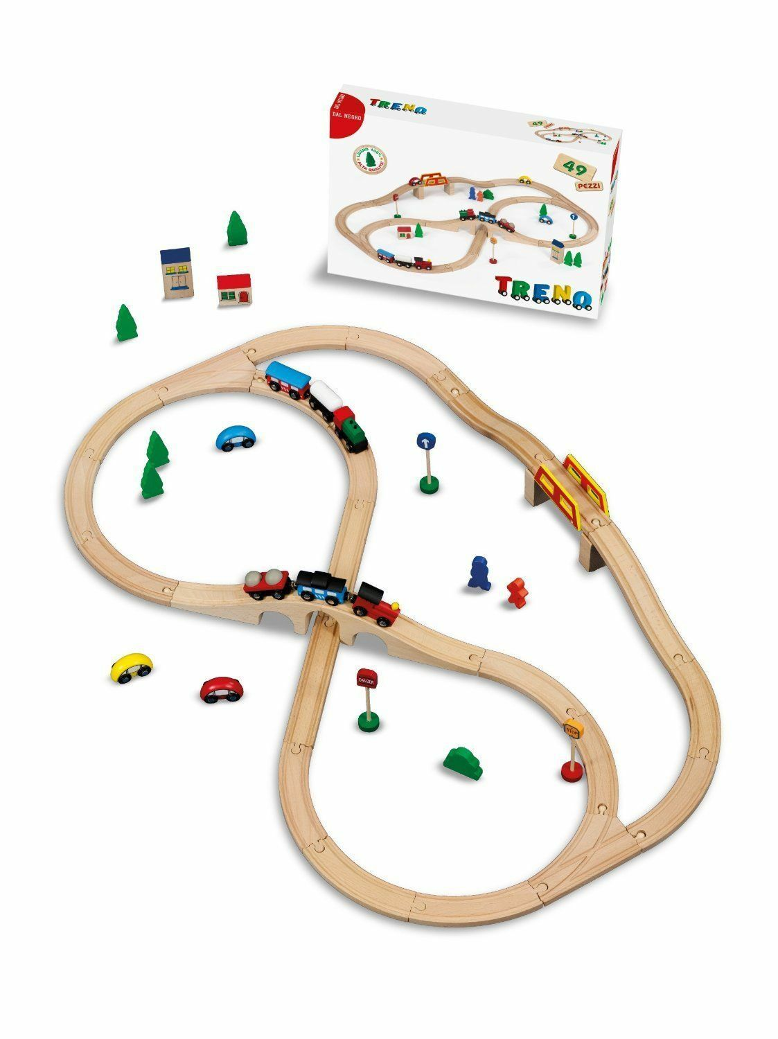 Train in wood 100% 49 Pieces, Game New, Dal black
