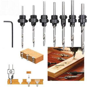 7x Set Bohrer Holz 5 Flöte HSS Senker Set 3-10mm Zimmermannswerkzeug Usef Y1N5