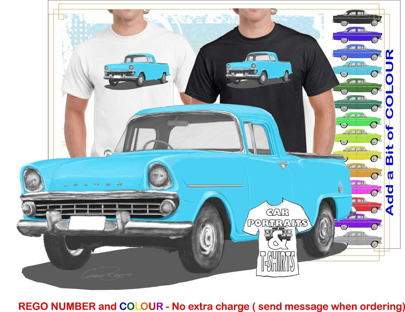 CLASSIC 60-61 FB HOLDEN UTE ILLUSTRATED T-SHIRT MUSCLE RETRO SPORTS