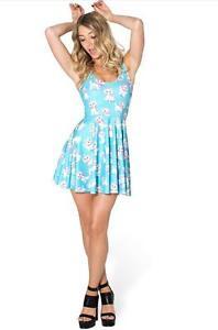 932f2926252 Women Blue dress Cute Cat Printed Pleated dress S-4XL Mini dress ...