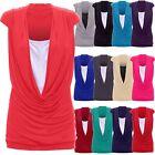 Ladies Womens Cowl Neck Contrast Insert Long Vest T-Shirt Top (S/M to 24/26)