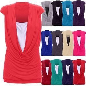 Mujer-cuello-drapeado-Contraste-DETALLES-Camiseta-Larga-Camiseta-S-M-A-24-26