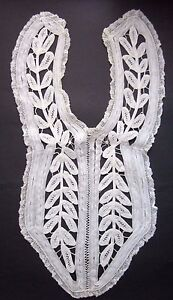 Antique Handmade Cotton Lace Bib Collar with Button Closure in Light Ivory Color