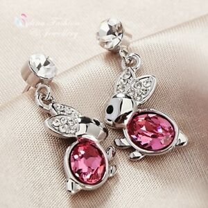 c41a80440 18K White Gold Plated Made With Swarovski Crystal Lovely Pink Bunny ...