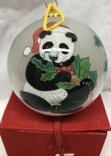 Vintage Hand Painted Panda Christmas Ornament With Red Keepsake Protective Box
