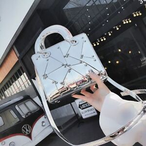 Women-Handbag-Tote-Mirror-Handle-Shoulder-Bag-Zipper-Pu-Leather-Solid-Versatile