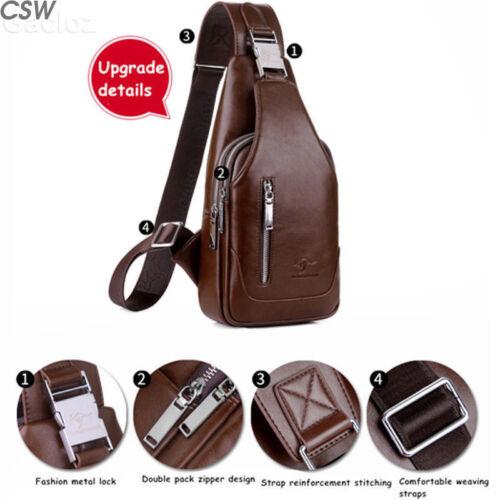 Mens Chest Shoulder Backpack Sling Cross Body Man Leather Satchel Travel Bag US