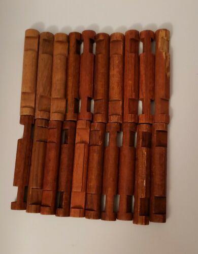 "Wooden LINCOLN LOGS Bulk Parts Lot 5 Long 3-Notch Pieces 7.5/"" Round Dark Brown"