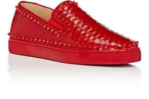 uk availability 24a4d 67861 Details about 100%AUTH NEW MEN CHRISTIAN LOUBOUTIN RED PIK PYTHON BOAT  SPIKE SHOES EU 43/US 10