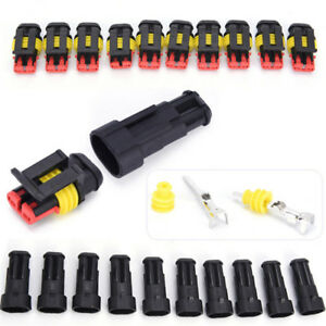 5x-2Pin-Car-Waterproof-Electrical-Connector-Plug-With-Wire-AWG-Marine-Black