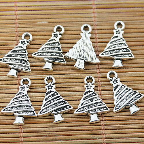 70pcs tibetan silver tone Christmas tree charms EF1511