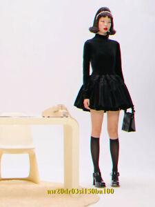 SHUSHU/TONG NEW Voluminous Tiered Plush Velvet Mini Dress UK 6 Long Sleeve