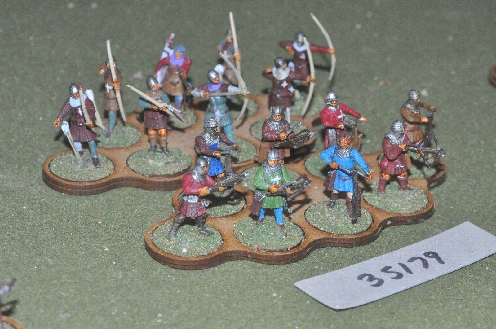 25mm medieval   burgundian - crossbowmen archers plastic glued 16 - inf (35179)