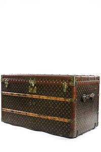 AUTH-VINTAGE-LOUIS-VUITTON-Monogram-Leather-Wood-Wardrobe-Steamer-Trunk