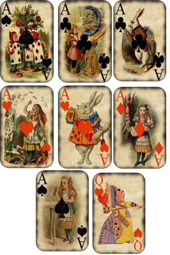 Vintage inspired Alice in Wonderland small note cards set of 8 with envelopes