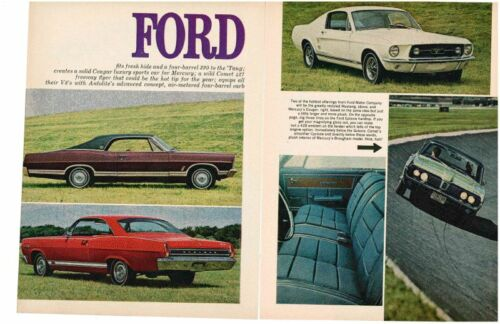 1967 FORD NEW CAR PREVIEW AWESOME 8PAGE ARTICLE AD