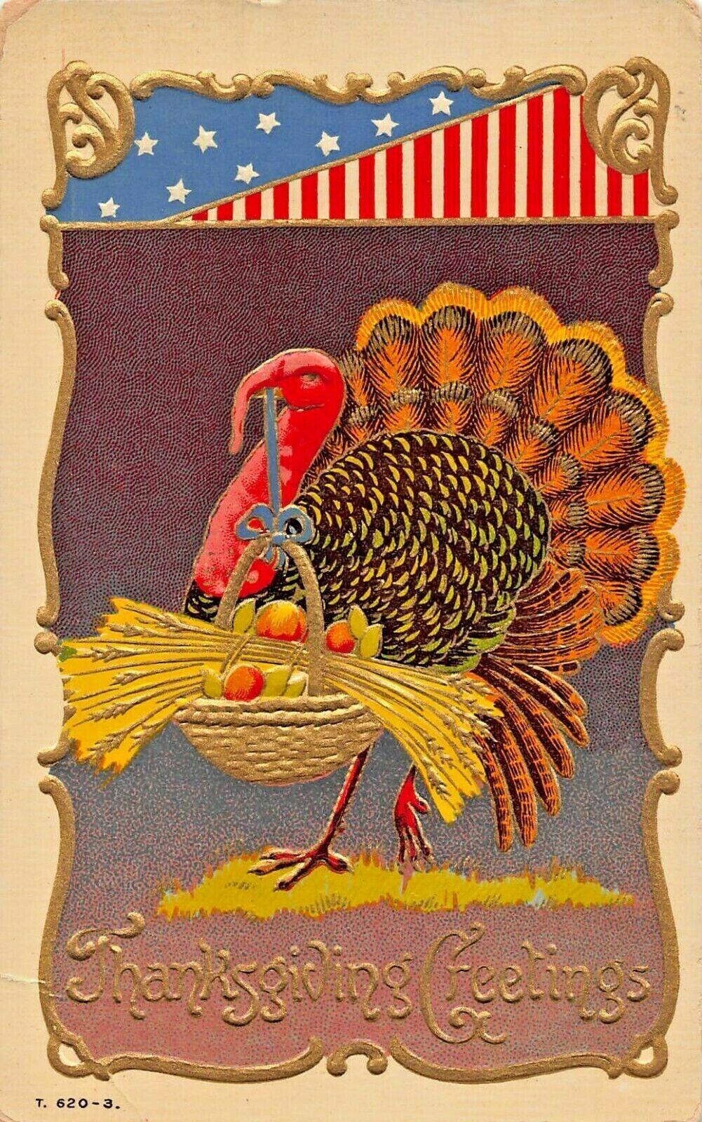 PATRIOTIC THANKSGIVING~TURKEY HOLDING BASKET-EMBOSSED GILT 1910s  POSTCARD
