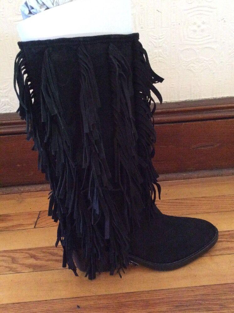 $695 Women's Aquatalia Lisette Suede Black Fringe Boots Size 7 BTF