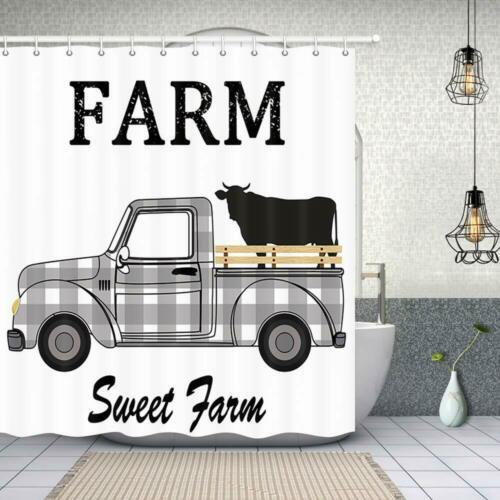 Rustic Black and White Plaids Farmhouse Cattle Truck Animal Cow Shower Curtain