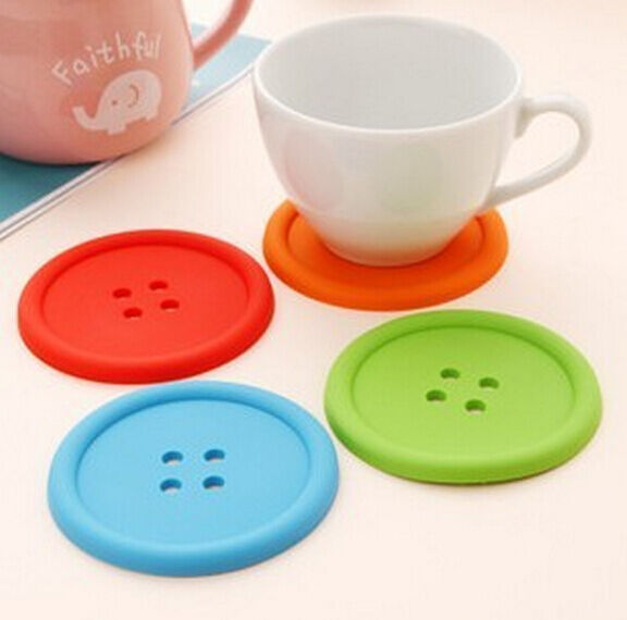 Cup Mug Glass Beverage Holder Pad Silicon Mat Coffee Placemat Button Coaster x