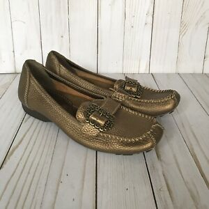 Bare-Traps-Womens-Padora-Loafer-Shoes-Bronze-Flat-Comfort-Slip-On-Buckle-7-M