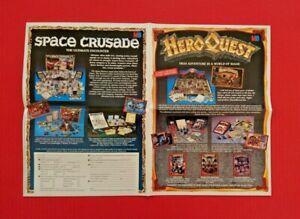 HeroQuest-Space-Crusade-Battle-Masters-Original-Advert-Leaflet-1990s-Ephemera