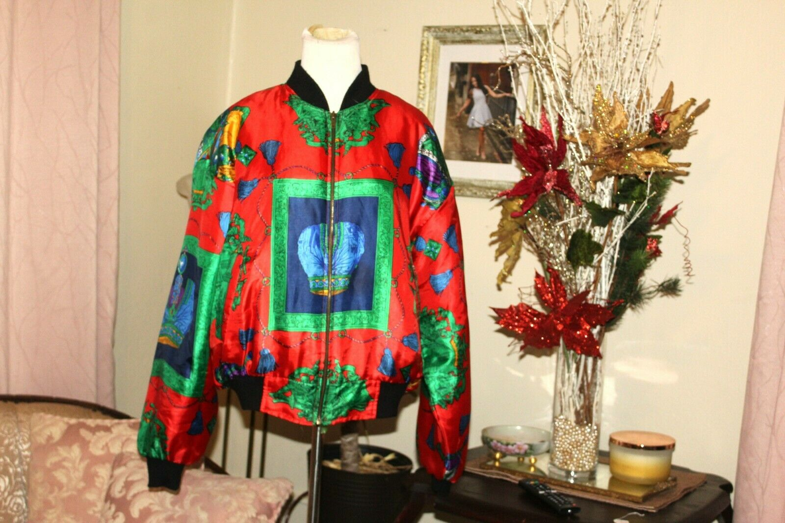 VINTAGE 1980's RED GREEN HOLIDAY SILK PUFF SLEEVE… - image 2