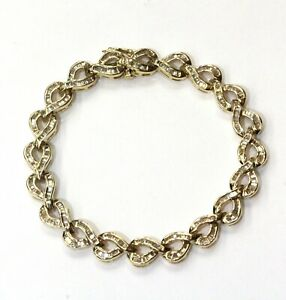 14k-yellow-gold-1-70ct-VS1-G-diamond-Baguette-tennis-bracelet-20g-7-5-034-vintage