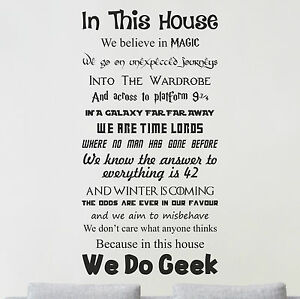 Image Is Loading In This House WE DO GEEK Vinyl Wall