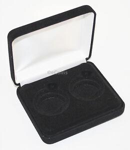 Black-Felt-COIN-DISPLAY-GIFT-METAL-DELUXE-PLUSH-BOX-holds-2-Half-Dollars-US-JFK
