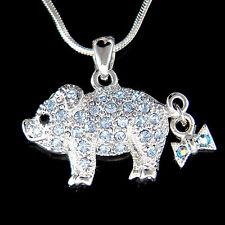 w Swarovski crystal ~Blue Pig Piggy Piglet Lover Charm Pendant Necklace New Cute