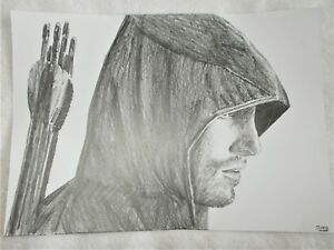 a4 art graphite pencil sketch drawing stephen amell as the green