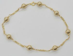 #BN160 NEW 14K Solid Yellow Gold Round Bead Bracelet 8.5
