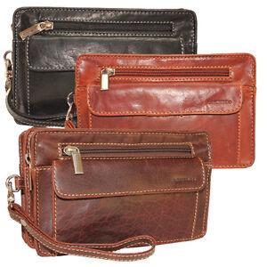 Herren-Leder-Handgelenktasche-Herrentasche-Handtasche-Tasche-Leder
