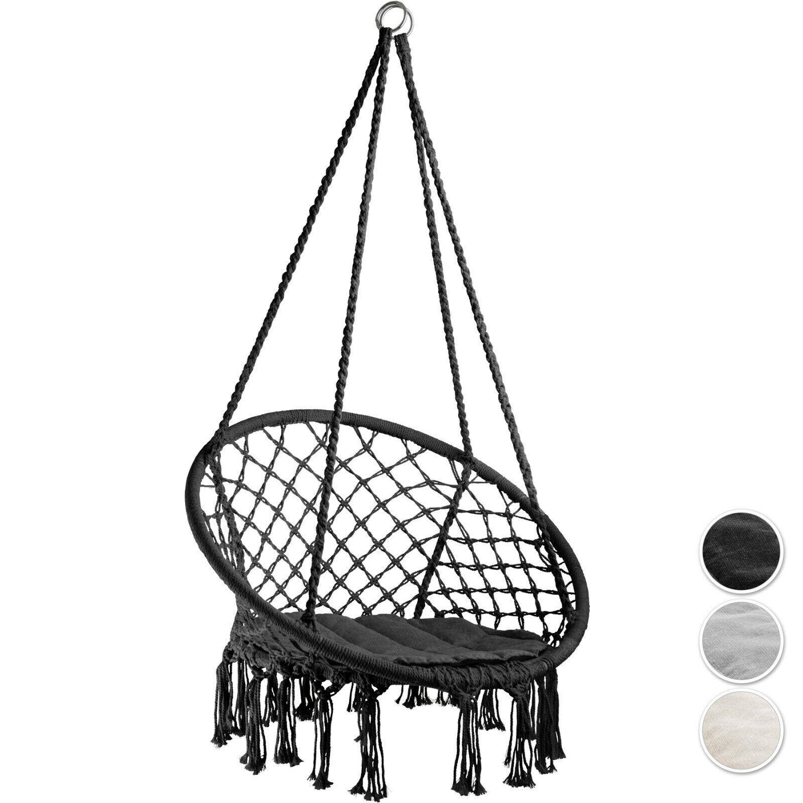 Colgante Para Exterior E Interior silla Hamaca Columpio Jardín de durable Cuerda Cojín