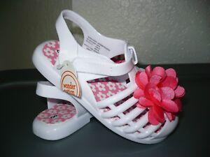 33ddd23d6 Wonder Nation Toddler Girls White Jelly Sandals W Flower Size 10 NEW ...
