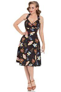 001270f2df8 La foto se está cargando  Negro-Vintage-Lucy-Vegas-impresion-Negro-Acampanado-Vestido-
