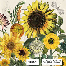 (1037) TWO Individual Paper LUNCHEON Decoupage Napkins - SUNFLOWERS FLOWERS