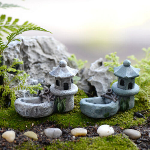 Mini Retro Pond Tower Craft Fairy Garden Decor Figurines Toys Micro LandscapeODH