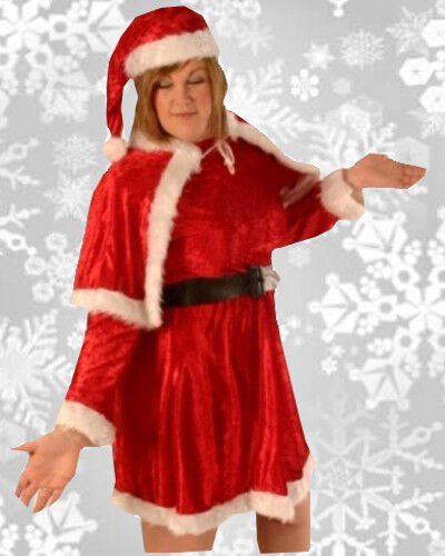 Mrs Santa Mother Christmas Xmas Velvet Fancy Dress Costume Plus Size