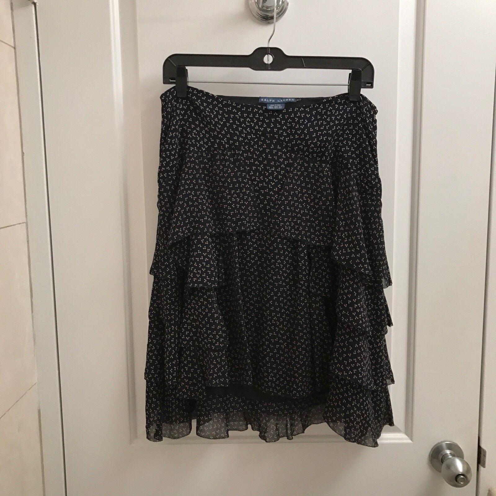 Women's Print Silk Ralph Lauren Skirt Size 8