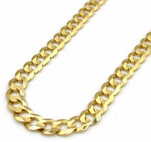 18-24-034-3-5mm-14k-Yellow-Solid-Real-Gold-Cuban-Curb-Chain-Necklace-Mens-Ladies