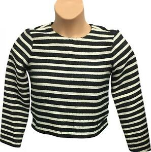 d2d3f44270 Details about PRE-OWNED Ladies Zara Black & White Cropped Long Sleeve Top  Size X-Small RM280