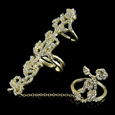 Elegant Multiple Finger Stack Knuckle Band Crystal Set Womens Ring Jewelry
