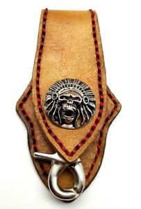 Biker-Keychain-Skull-Indian-Chief-Trucker-Handmade-Leather-Belt-Clip-Key-Holder