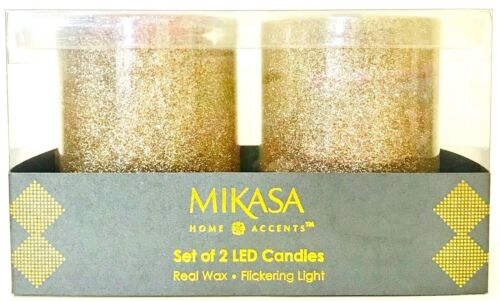 Mikasa Home Accents Set Of 2 Gold Glitter LED Real Wax Flickering Light Candles