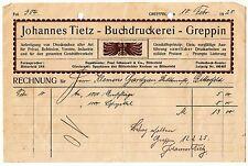 Litho Rechnung Johannes Tietz Buchdruckerei Greppin 1925 ! (D1