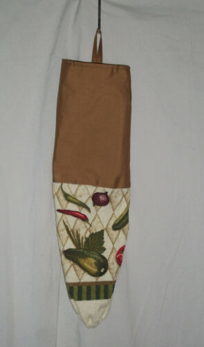 Homemade Towel /& Brown Fabric Plastic Grocery Bag Holder Veggie Design